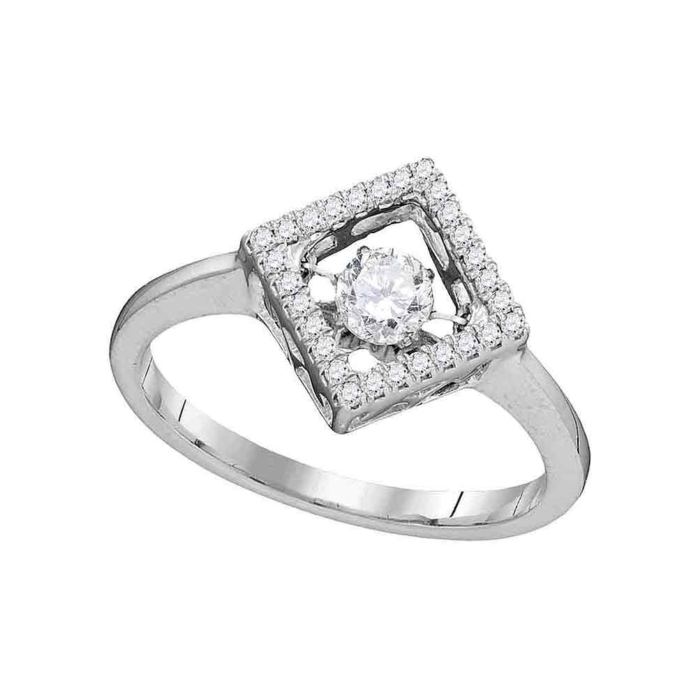 10kt White Gold Womens Round Diamond Moving Twinkle Solitaire Diagonal Square Ring 1/5 Cttw