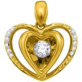 10kt Yellow Gold Womens Round Moving Twinkle Diamond Heart Pendant 1/6 Cttw
