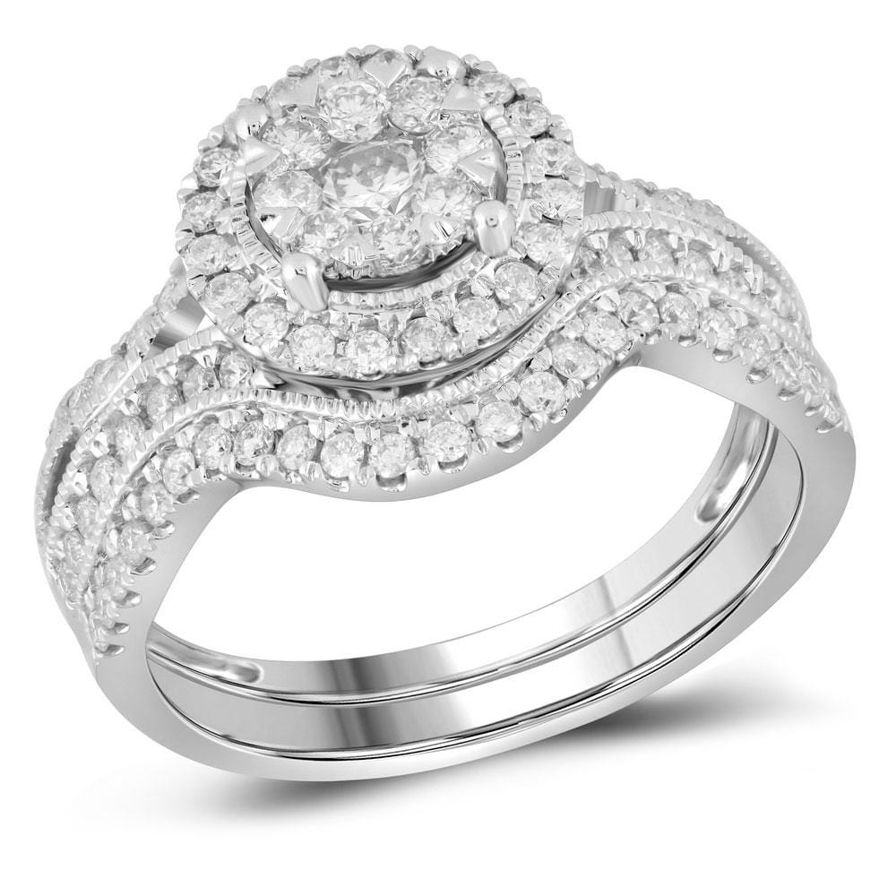 14kt White Gold Womens Round Diamond Bridal Wedding Engagement Ring Band Set 7/8 Cttw