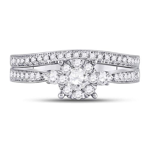 14kt White Gold Womens Diamond Princess Bridal Wedding Engagement Ring Band Set 5/8 Cttw