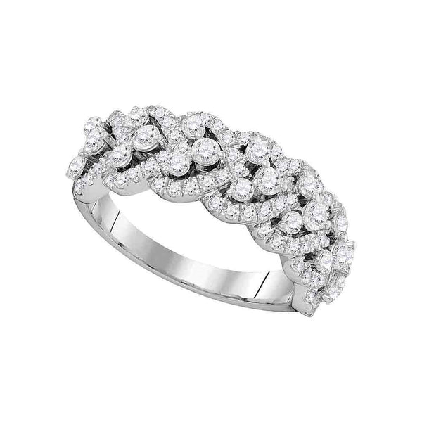 14kt White Gold Womens Round Diamond Spade-shape Band Ring 1-3/8 Cttw