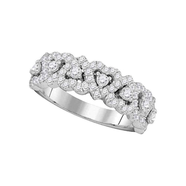 14kt White Gold Womens Pave-set Round Diamond Heart Band 3/4 Cttw