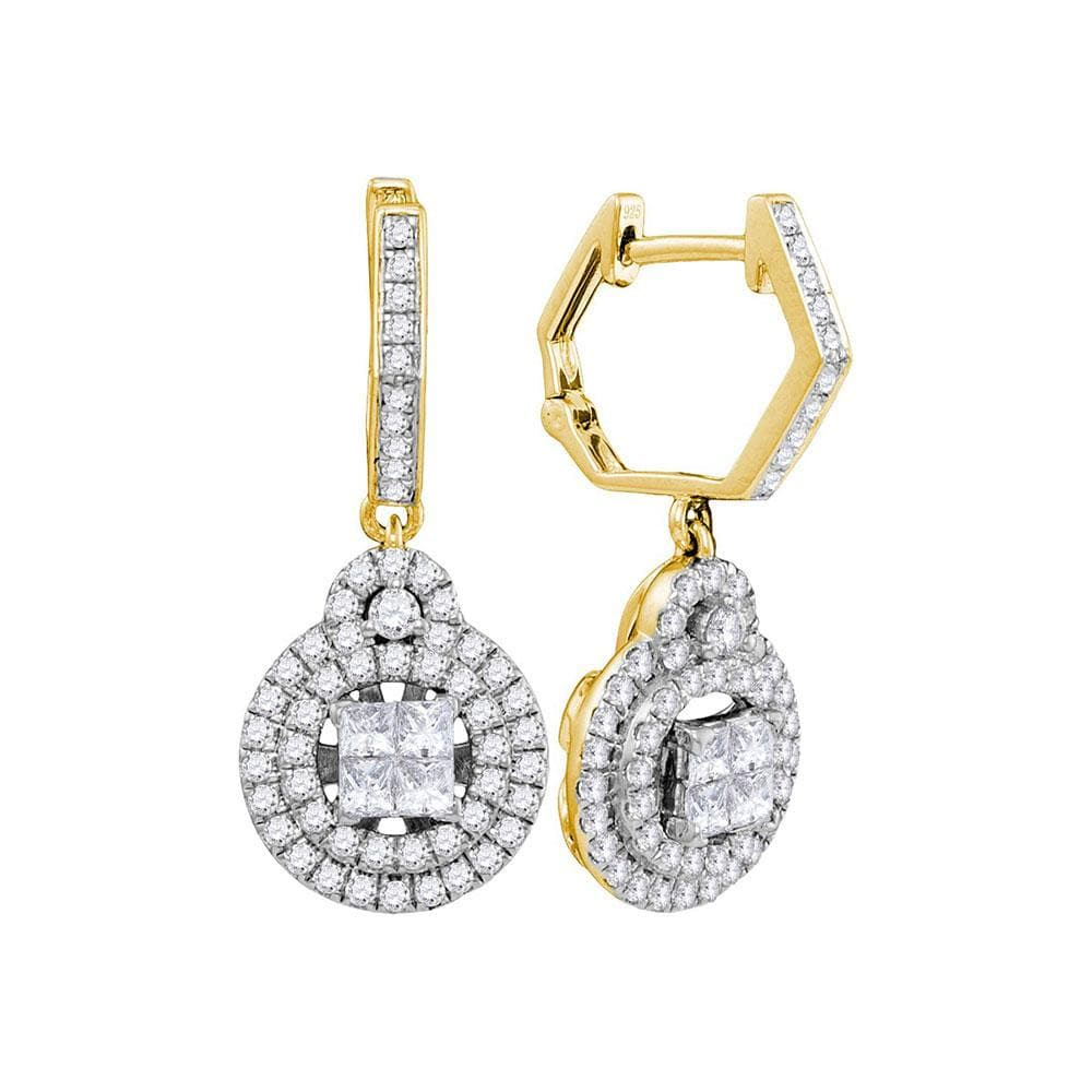 14kt Yellow Gold Womens Princess Diamond Double Circle Frame Dangle Earrings 1.00 Cttw