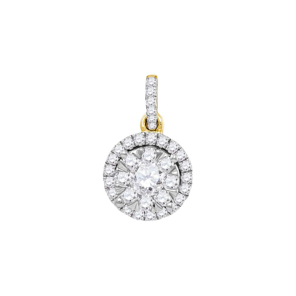 14kt Yellow Gold Womens Round Diamond Frame Flower Cluster Pendant 7/8 Cttw