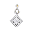 14kt Yellow Gold Womens Princess Diamond Square Pendant 3/4 Cttw