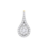 14kt Yellow Gold Womens Round Diamond Cluster Pendant 5/8 Cttw