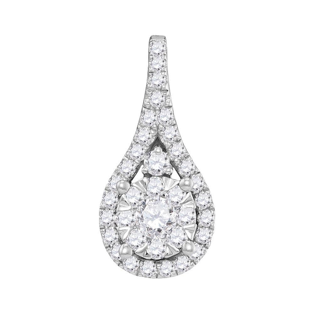 14kt White Gold Womens Round Diamond Cluster Pendant 5/8 Cttw
