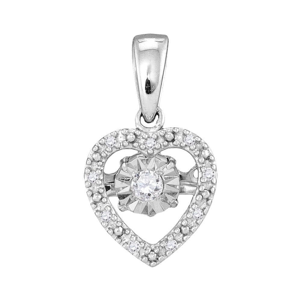 10kt White Gold Womens Round Diamond Moving Twinkle Solitaire Heart Pendant 1/12 Cttw