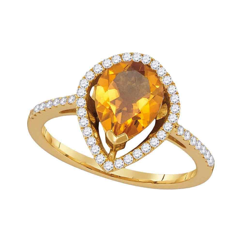 14kt Yellow Gold Womens Pear Citrine Diamond Teardrop Solitaire Ring 1-5/8 Cttw