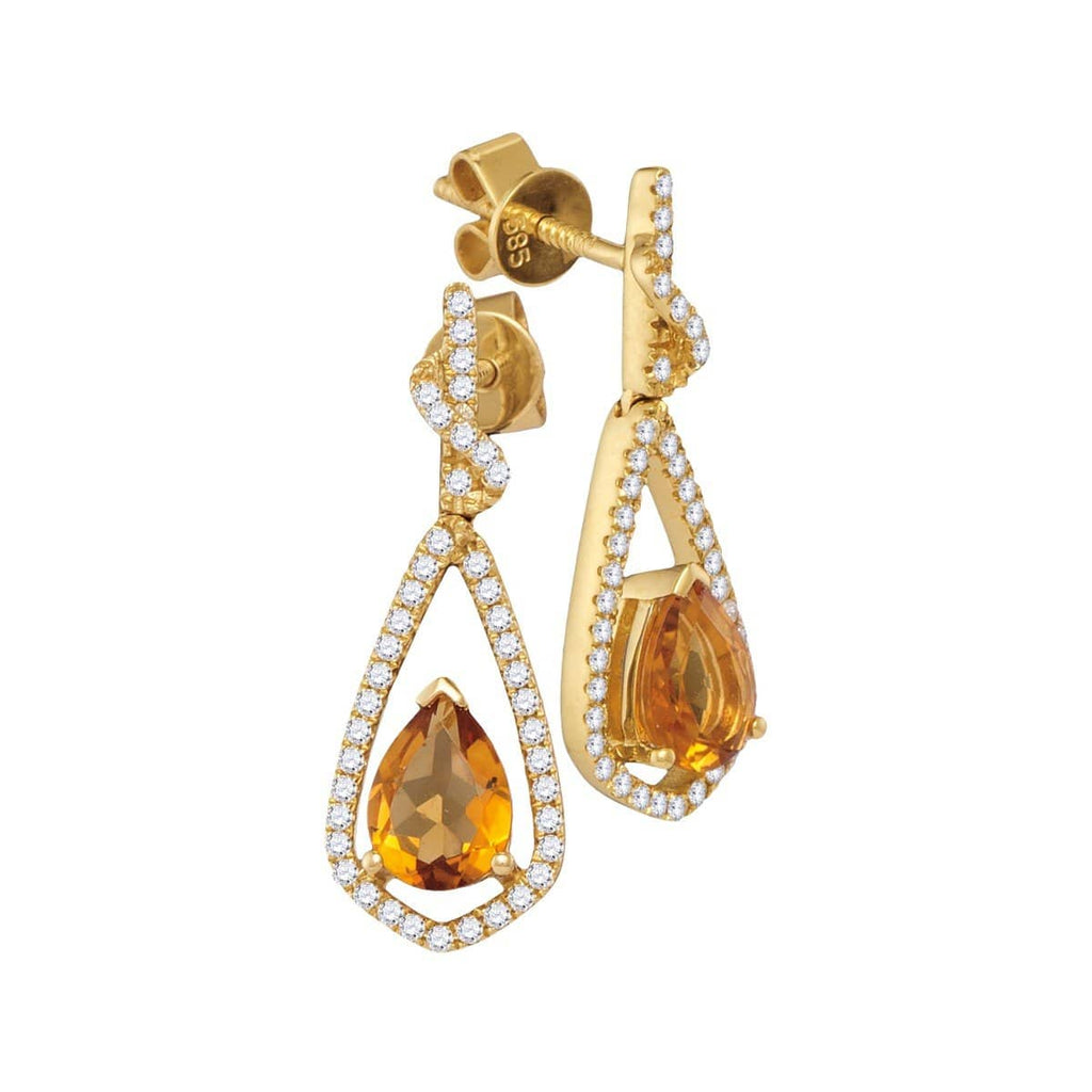 14kt Yellow Gold Womens Pear Natural Citrine Diamond Dangle Earrings 1-5/8 Cttw
