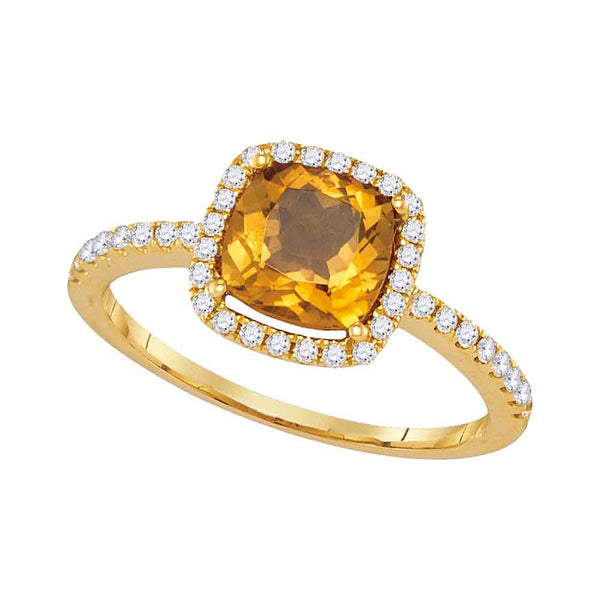 14kt Yellow Gold Womens Cushion Citrine Solitaire Diamond Halo Slender Ring 1-1/4 Cttw