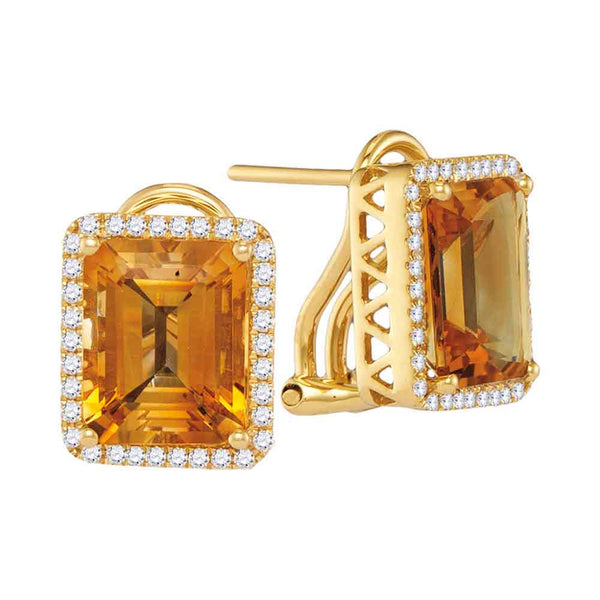 14kt White Gold Womens Cushion Citrine Solitaire Diamond Frame French-clip Earrings 3-5/8 Cttw