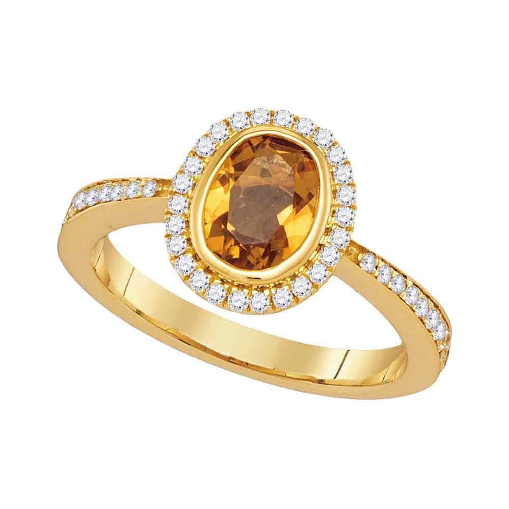 14kt Yellow Gold Womens Oval Citrine Diamond Solitaire Ring 1-1/2 Cttw