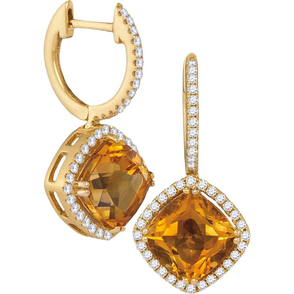 14kt Yellow Gold Womens Cushion Natural Citrine Diamond Dangle Earrings 5-1/3 Cttw