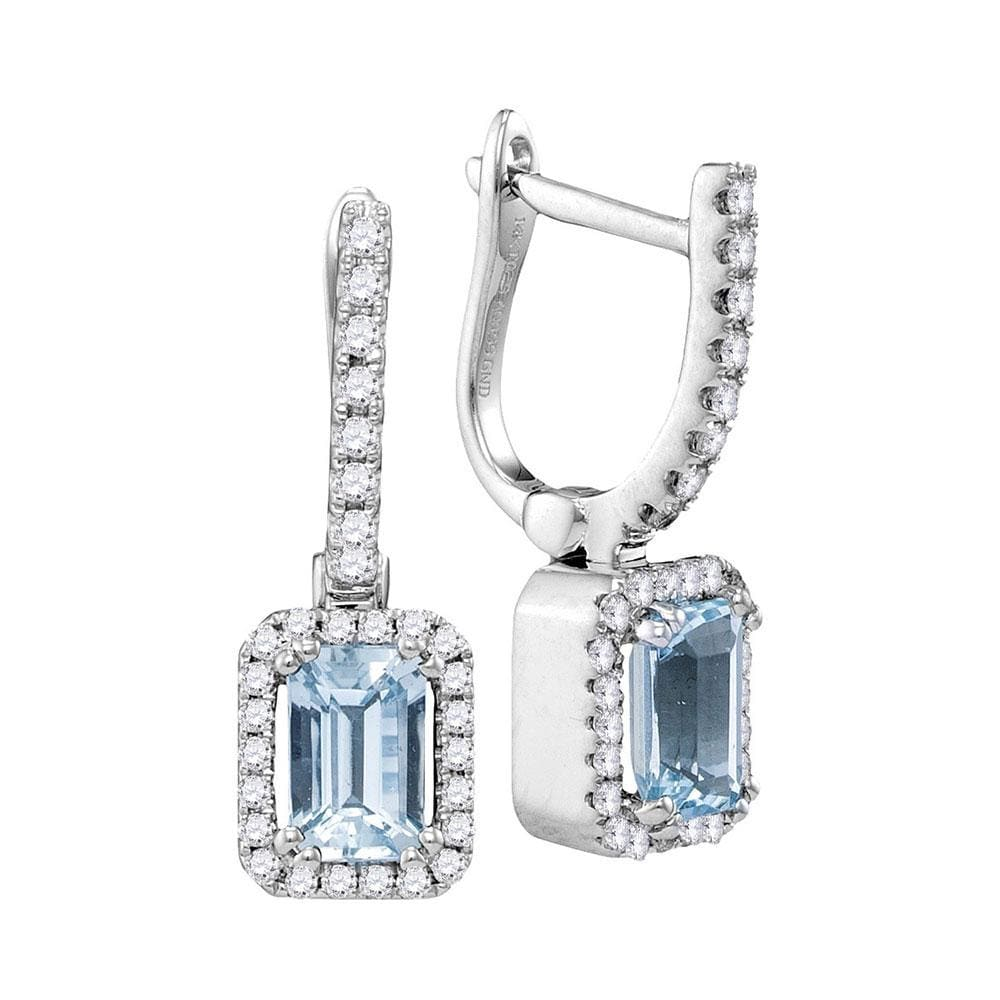 14kt White Gold Womens Cushion Aquamarine Solitaire Diamond Frame Hoop Dangle Earrings 1/3 Cttw