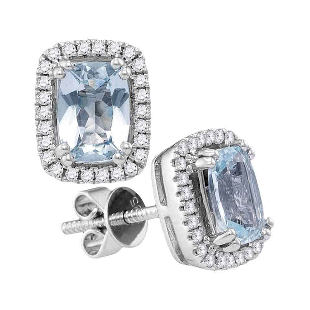 14kt White Gold Womens Cushion Aquamarine Solitaire Diamond Stud Earrings 1-7/8 Cttw