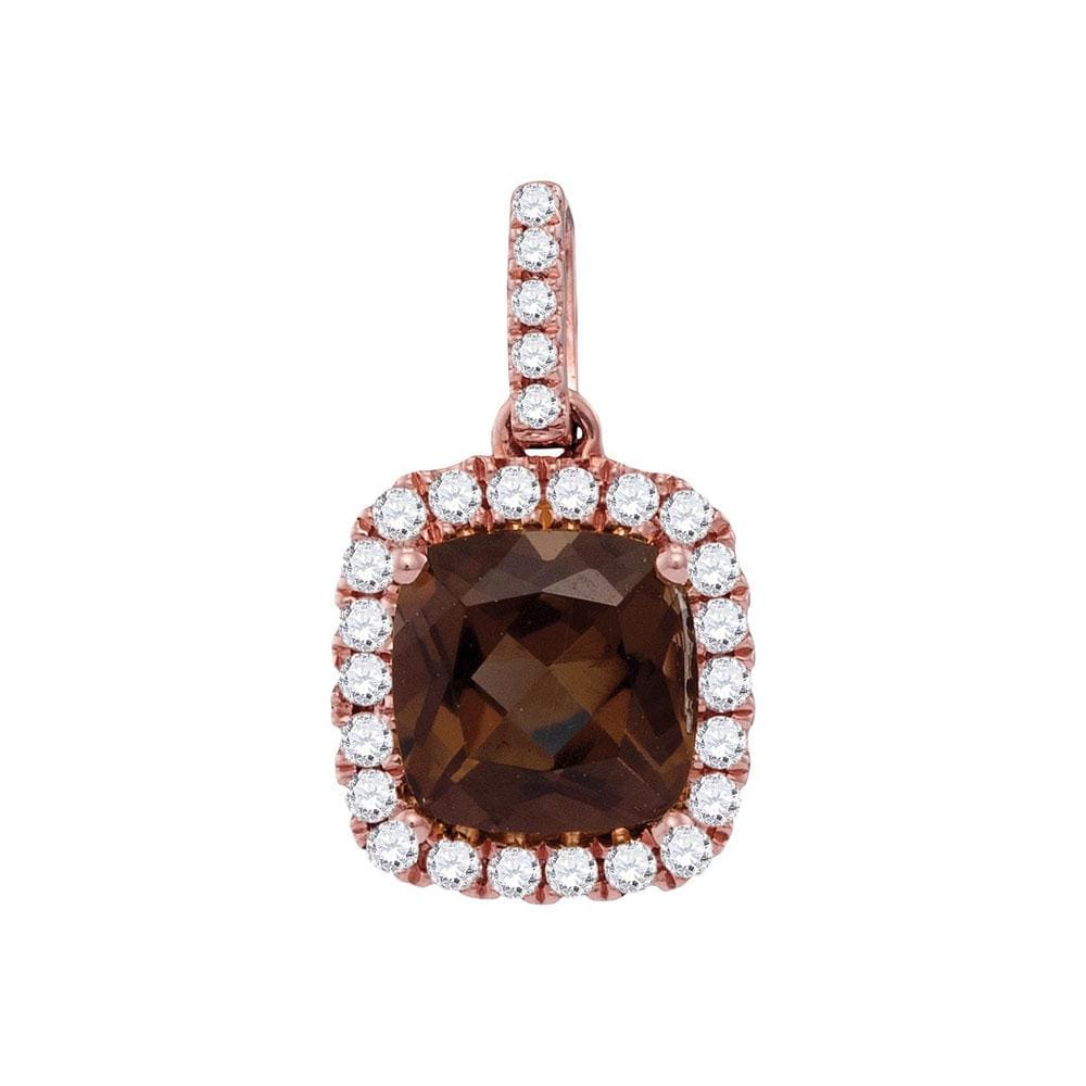 14kt Rose Gold Womens Cushion Smoky Quartz Solitaire Diamond Accent Pendant 1/5 Cttw