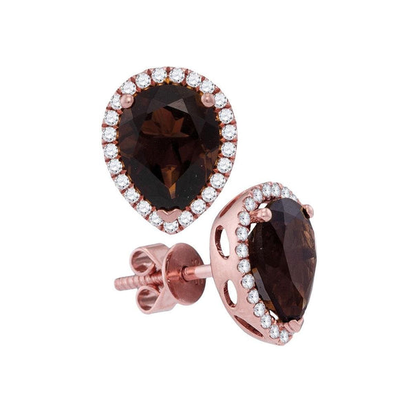 14kt Rose Gold Womens Pear Smoky Quartz Solitaire Stud Earrings 3-3/8 Cttw