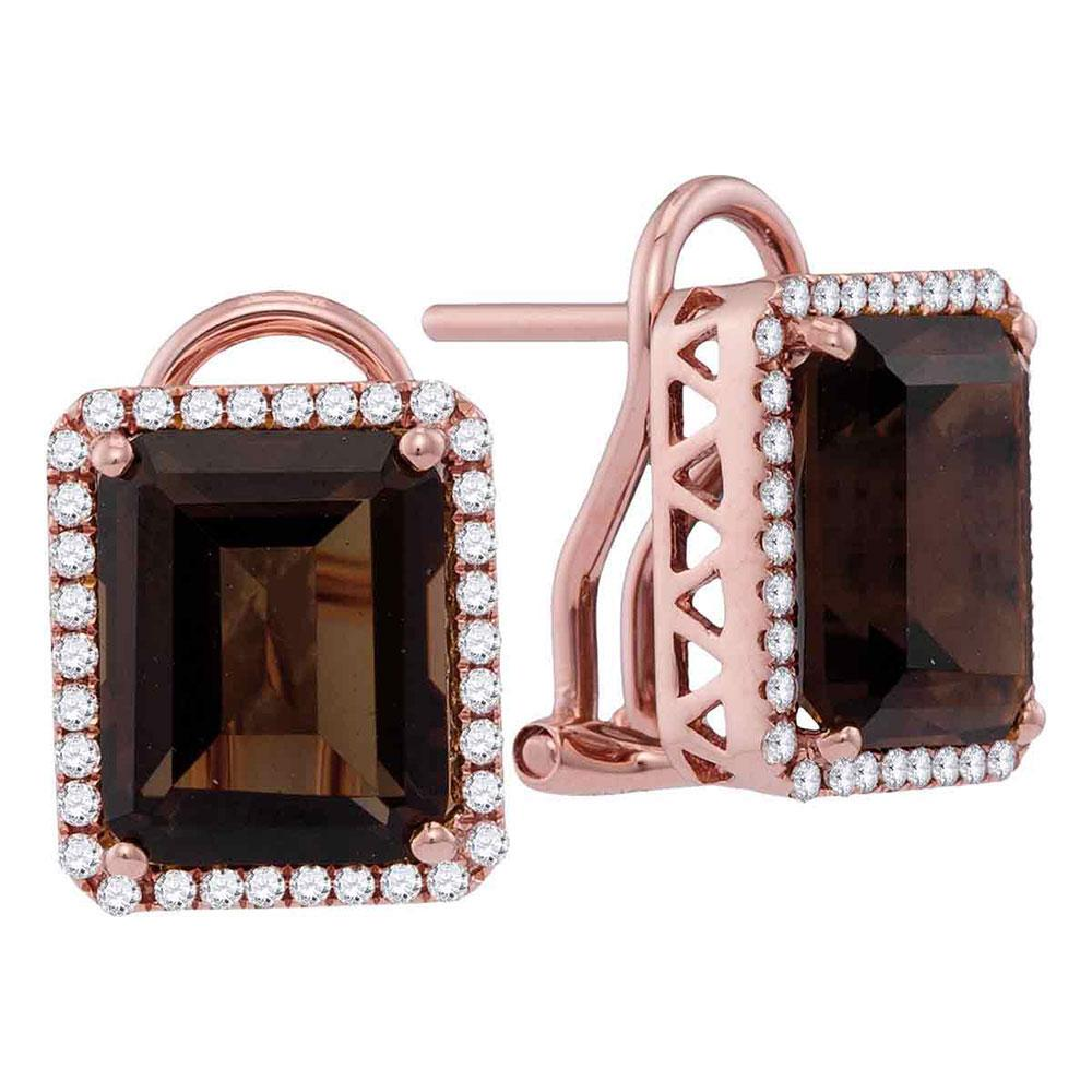 14kt Rose Gold Womens Emerald-shape Smoky Quartz Diamond Stud Earrings 6-7/8 Cttw