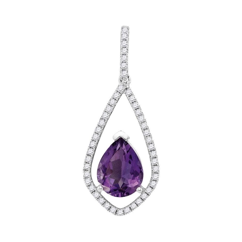 14kt White Gold Womens Pear Amethyst Teardrop Diamond Accent Pendant 1-1/2 Cttw