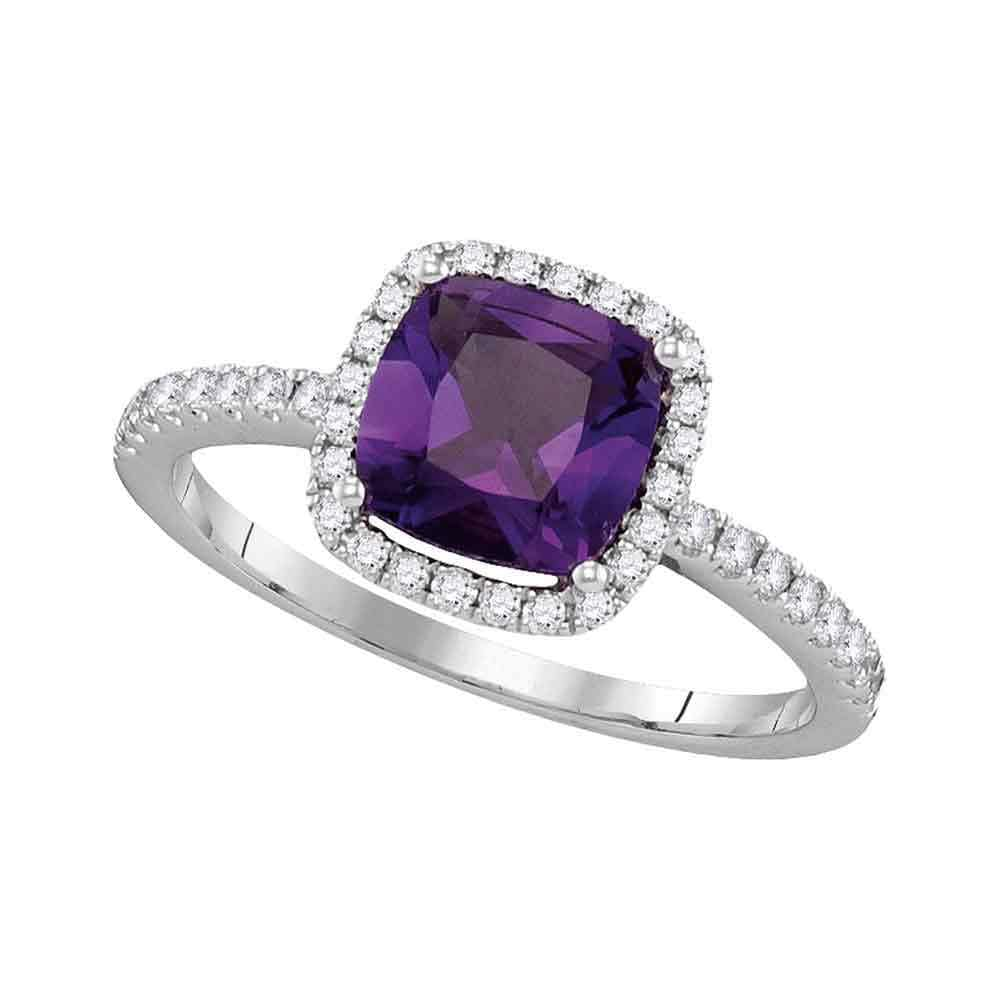 14kt White Gold Womens Cushion Amethyst Solitaire Diamond Accent Ring 1-1/2 Cttw