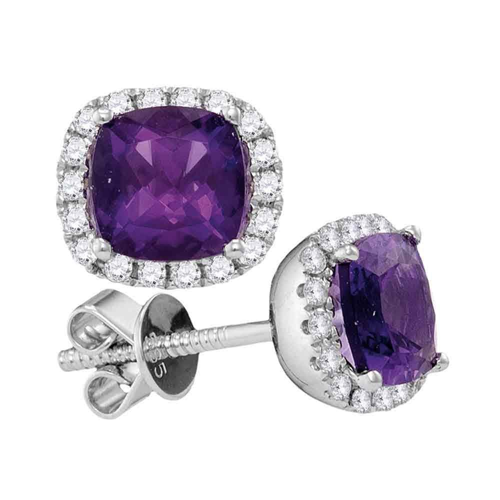 14kt White Gold Womens Princess Natural Amethyst Diamond Stud Earrings 2 Cttw