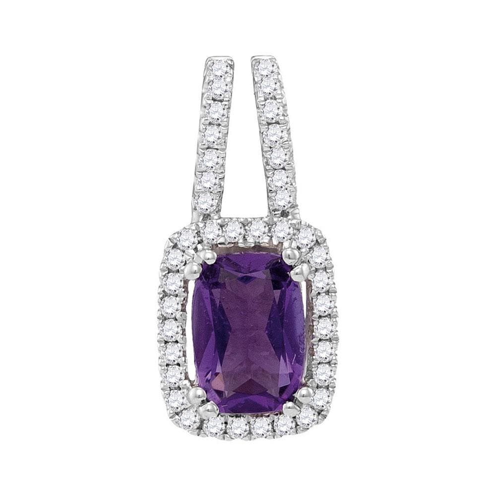 14kt White Gold Womens Emerald Amethyst Solitaire Diamond Accent Pendant 7/8 Cttw