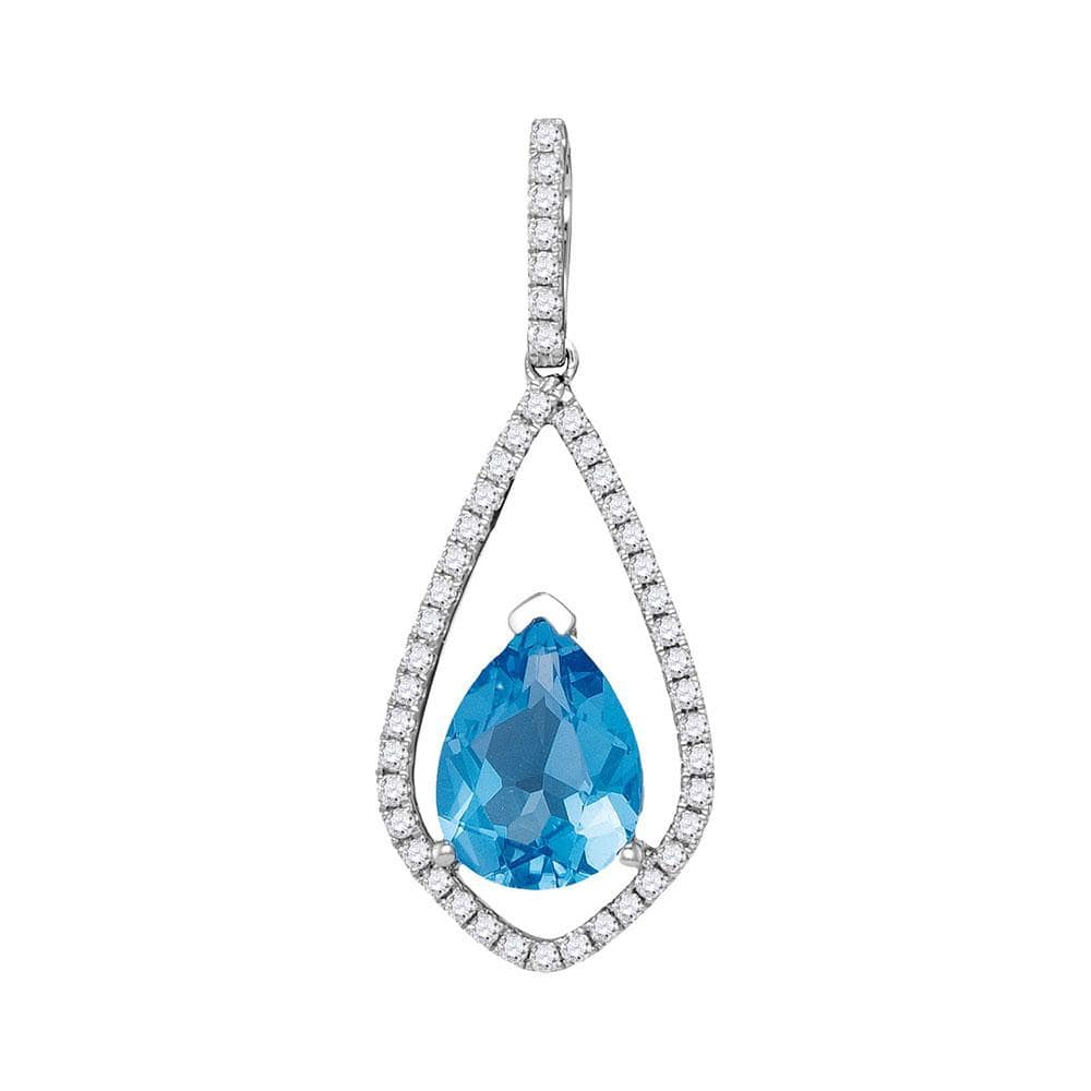 14kt White Gold Womens Pear Blue Topaz Solitaire Diamond Teardrop Pendant 2-1/12 Cttw