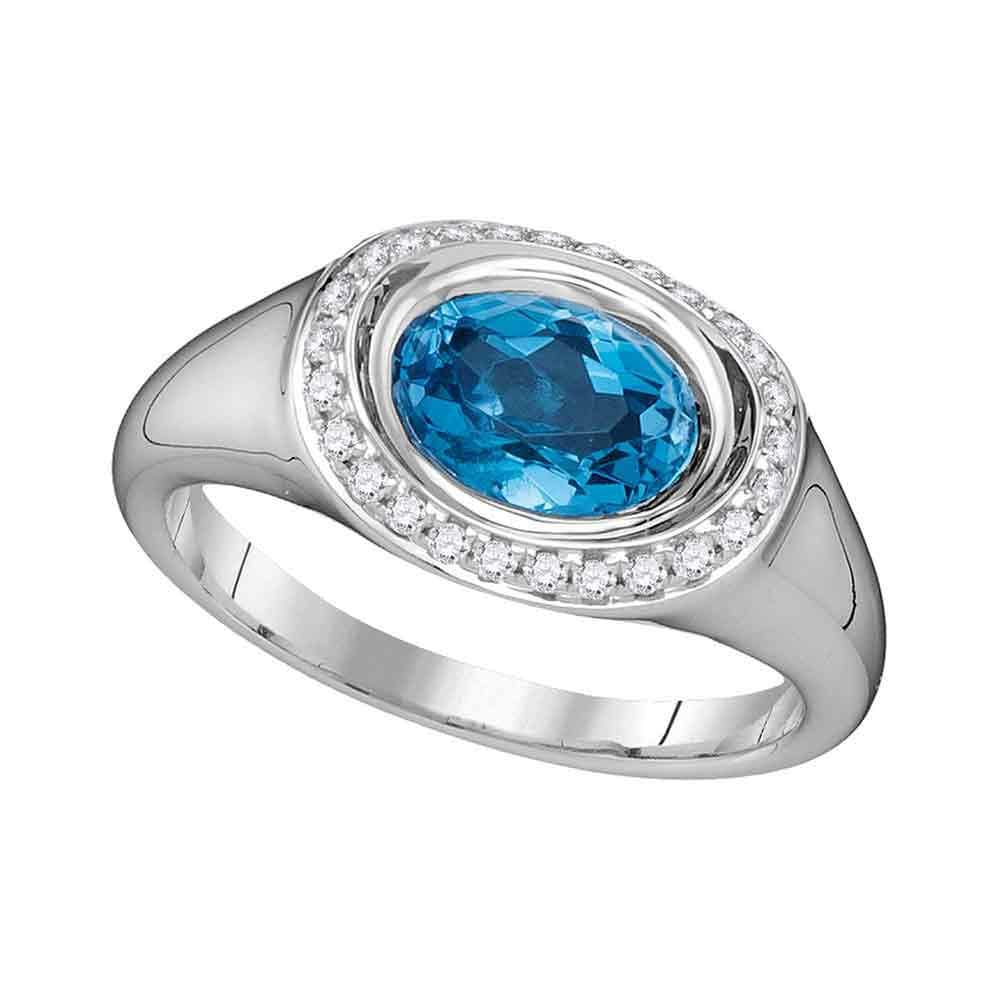 14kt White Gold Womens Oval Blue Topaz Solitaire Diamond Accent Ring 1-1/2 Cttw