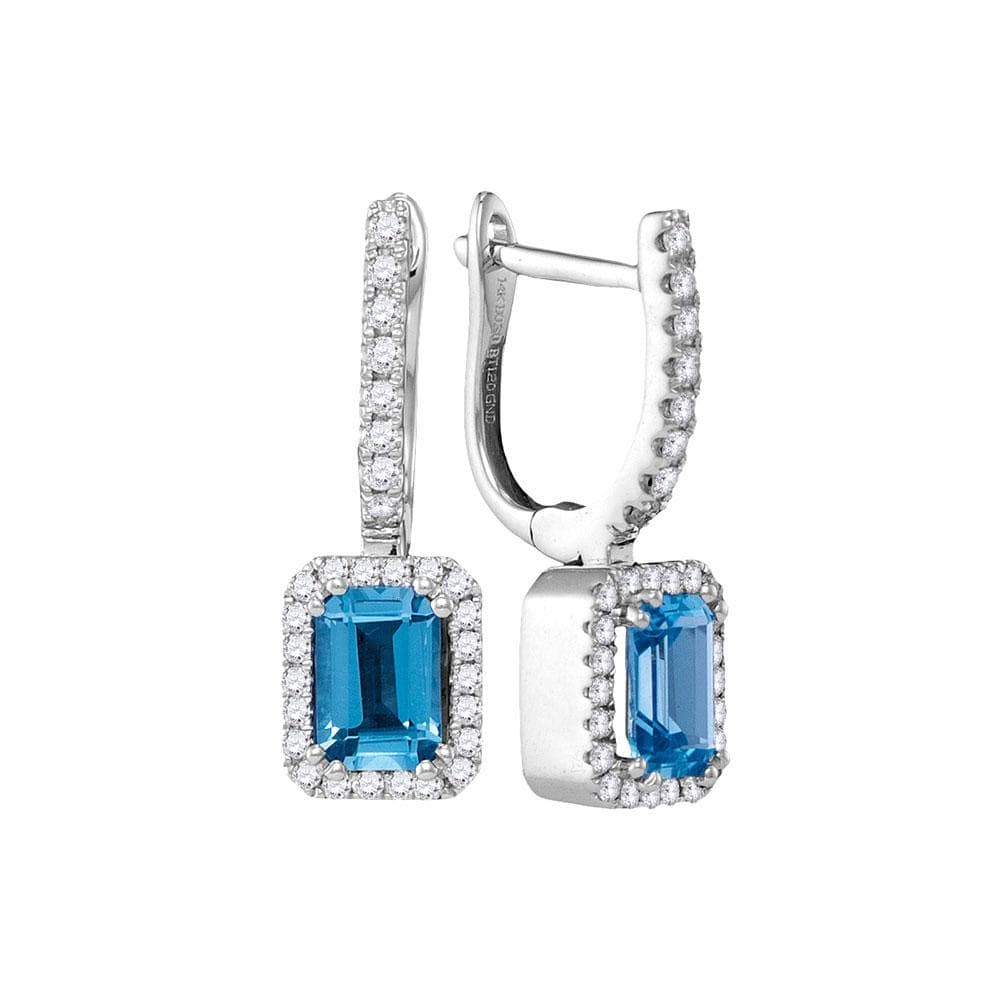 14kt White Gold Womens Cushion Blue Topaz Solitaire Diamond Frame Hoop Dangle Earrings 1/3 Cttw