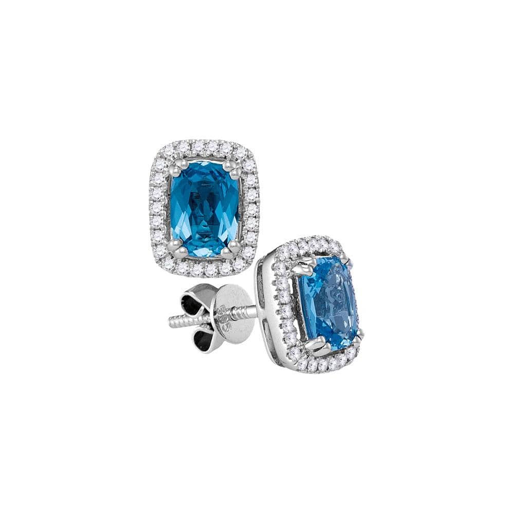 14kt White Gold Womens Cushion Blue Topaz Solitaire Diamond Frame Earrings 1 Cttw