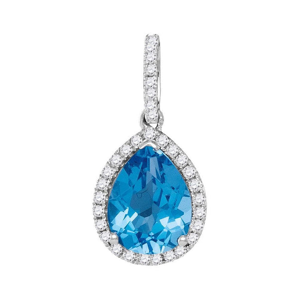 14kt White Gold Womens Pear Blue Topaz Solitaire Teardrop Pendant 2.00 Cttw