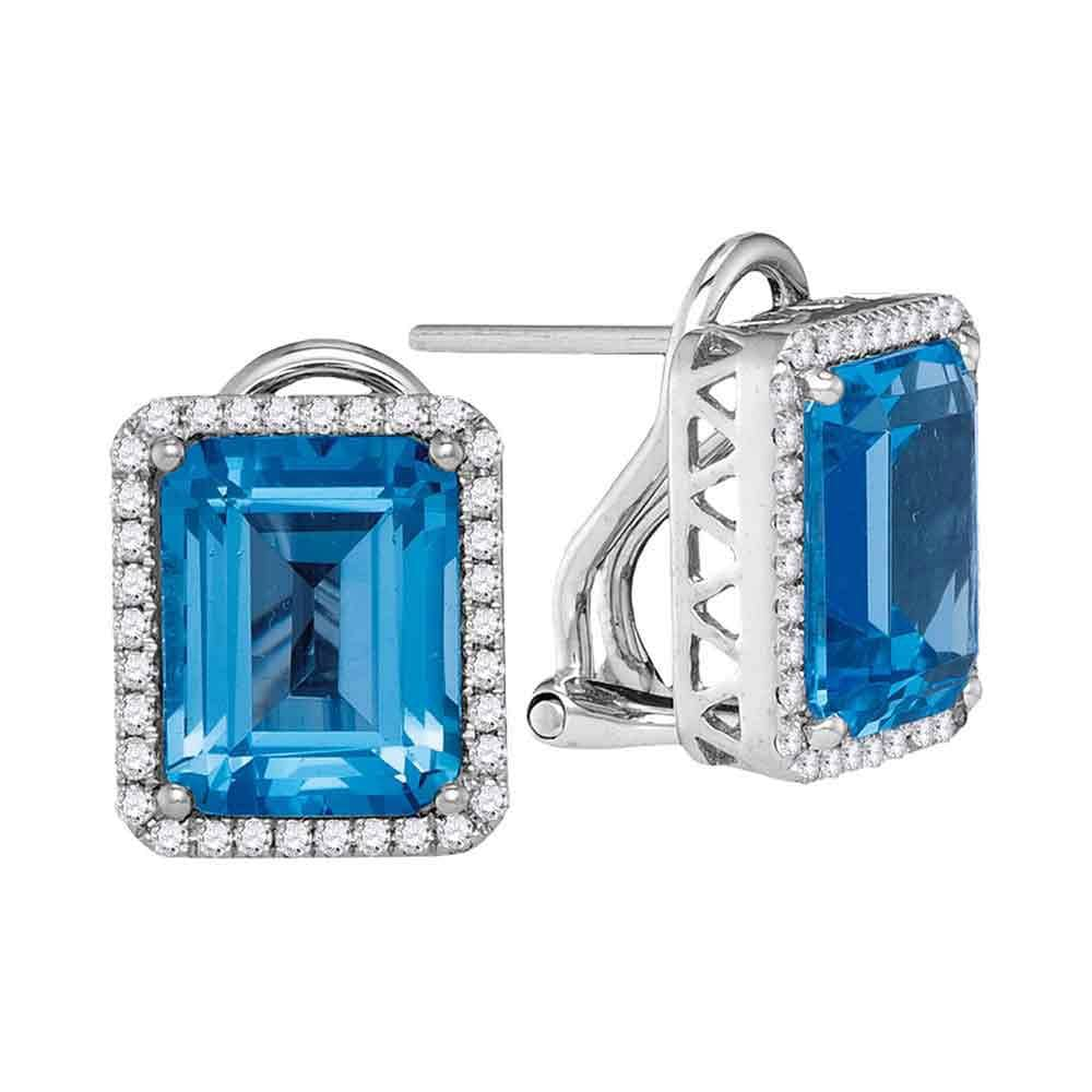 14kt White Gold Womens Cushion Blue Topaz Solitaire Diamond Frame French-clip Earrings 3-5/8 Cttw