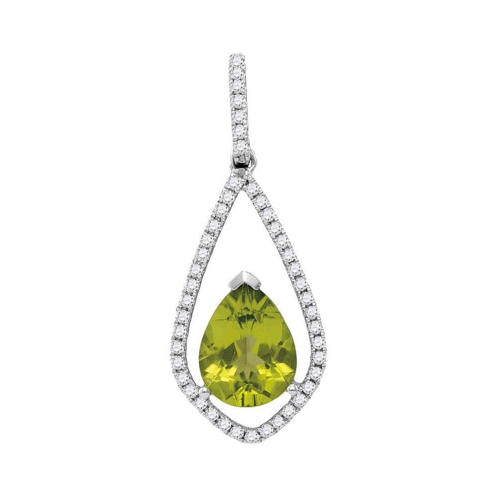 14kt White Gold Womens Pear Peridot Teardrop Diamond Pendant 2 Cttw