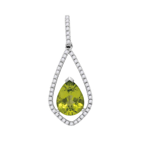 14kt White Gold Womens Pear Peridot Teardrop Diamond Pendant 2-1/10 Cttw
