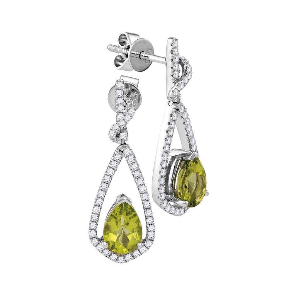 14kt White Gold Womens Pear Natural Peridot Diamond Dangle Earrings 1-7/8 Cttw