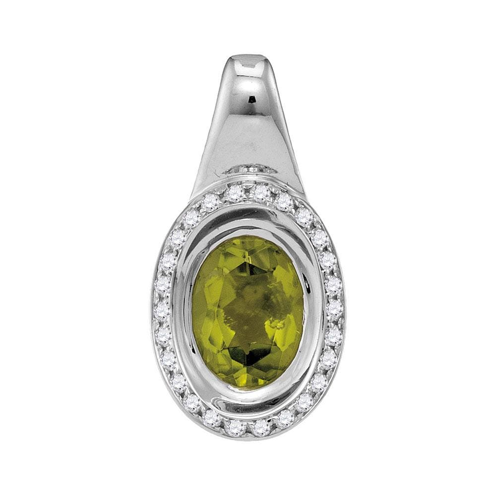 14kt White Gold Womens Oval Peridot Solitaire Diamond Accent Pendant 1-1/2 Cttw