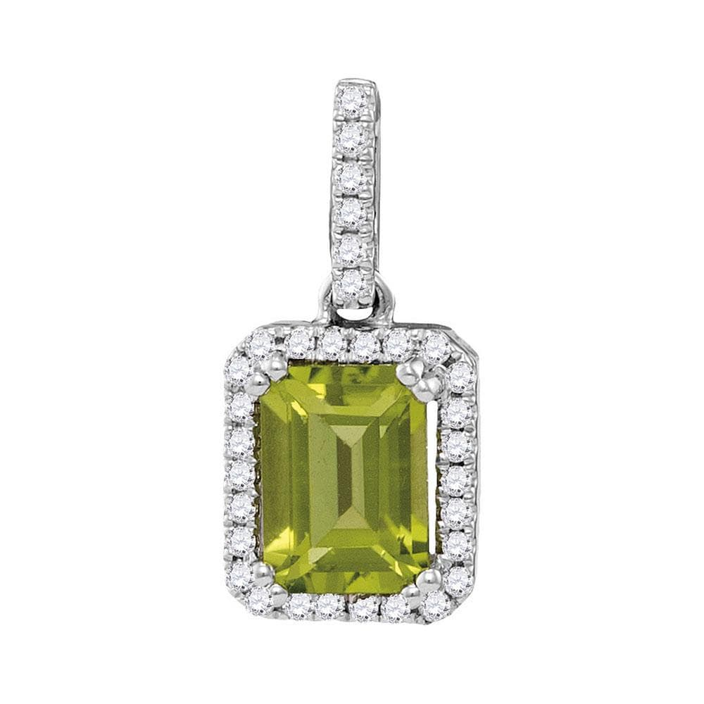 14kt White Gold Womens Emerald Peridot Solitaire Diamond Rectangle Frame Pendant 1-1/8 Cttw