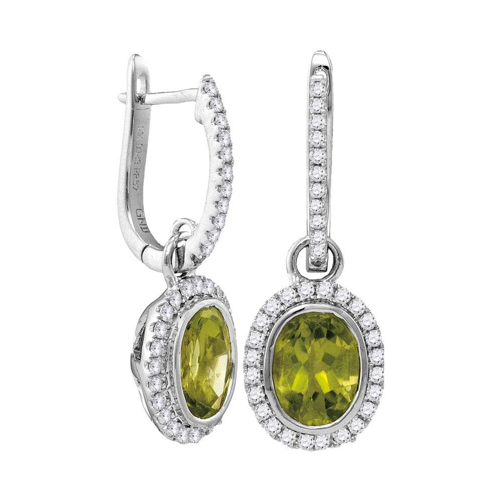 14kt White Gold Womens Round Natural Peridot Diamond Oval Dangle Earrings 3.00 Cttw