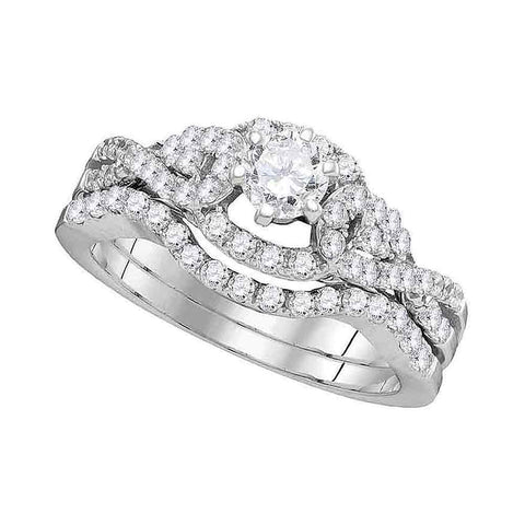 14k White Gold Womens Round Diamond Woven Twist Bridal Wedding Engagement Ring Band Set 1 Cttw