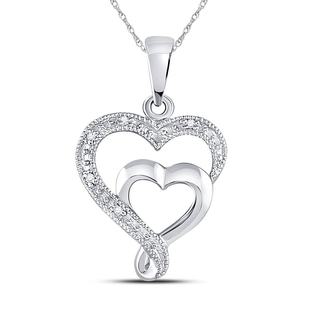 Sterling Silver Womens Round Diamond Heart Pendant .02 Cttw