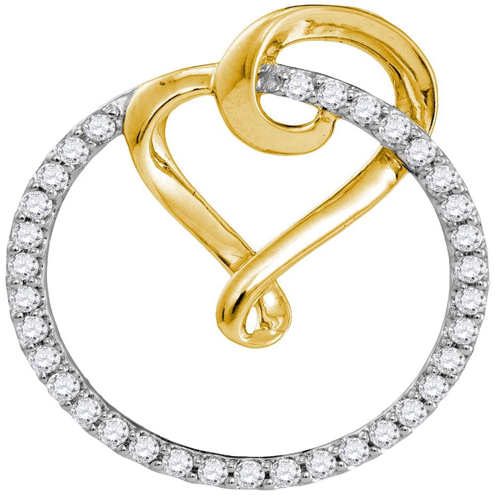 10kt Yellow Gold Womens Round Diamond Heart Love Circle 2-tone Pendant 1/3 Cttw