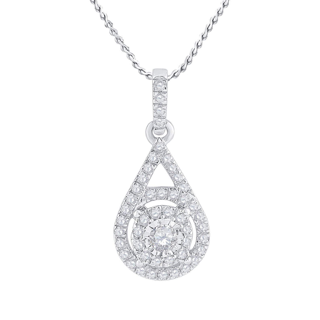 10kt White Gold Womens Round Diamond Solitaire Circle Frame Pendant 1/4 Cttw