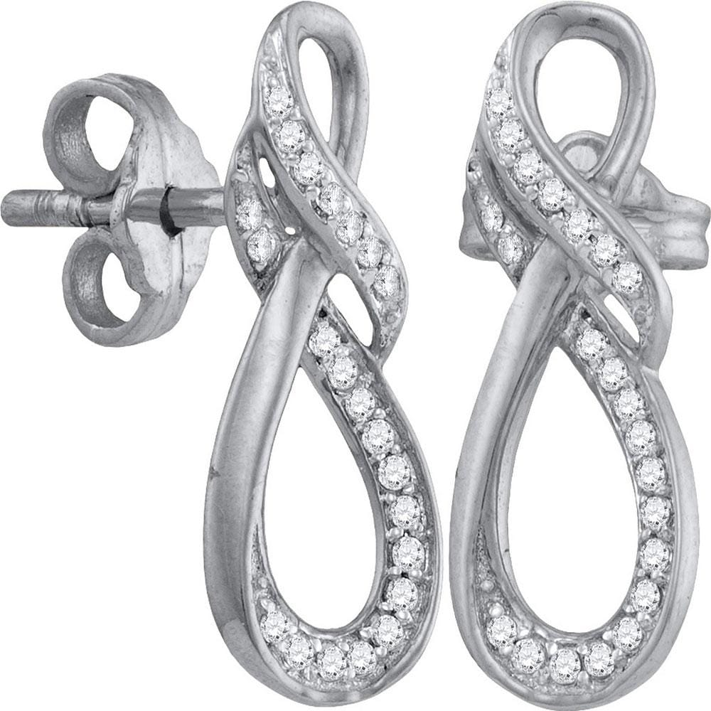10kt White Gold Womens Round Diamond Vertical Infinity Stud Earrings 1/6 Cttw