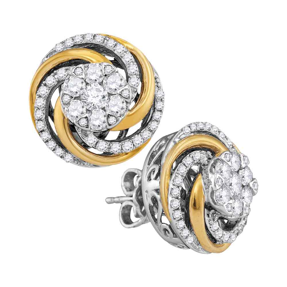 10kt Two-tone White Gold Womens Round Diamond Flower Cluster Earrings 1.00 Cttw