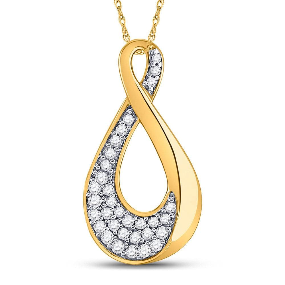 10kt Yellow Gold Womens Round Diamond Teardrop Cluster Pendant 1/8 Cttw
