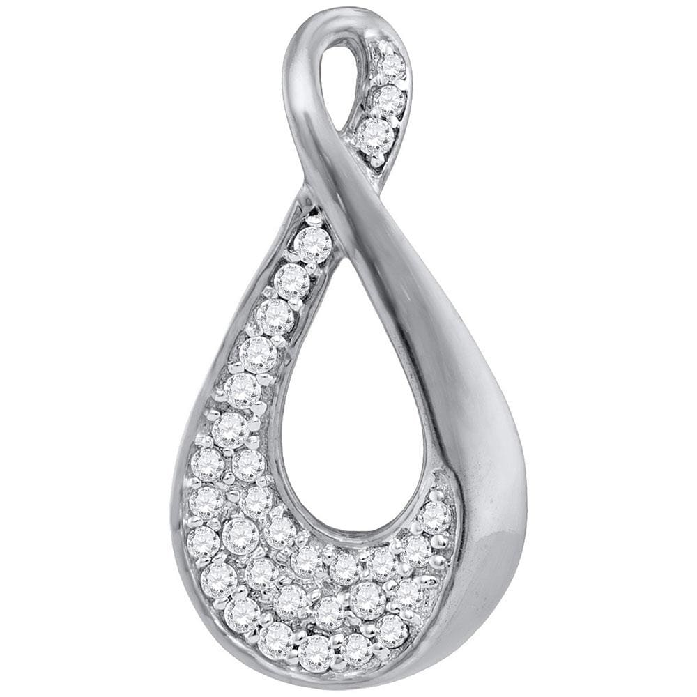 10kt White Gold Womens Round Diamond Teardrop Cluster Pendant 1/8 Cttw