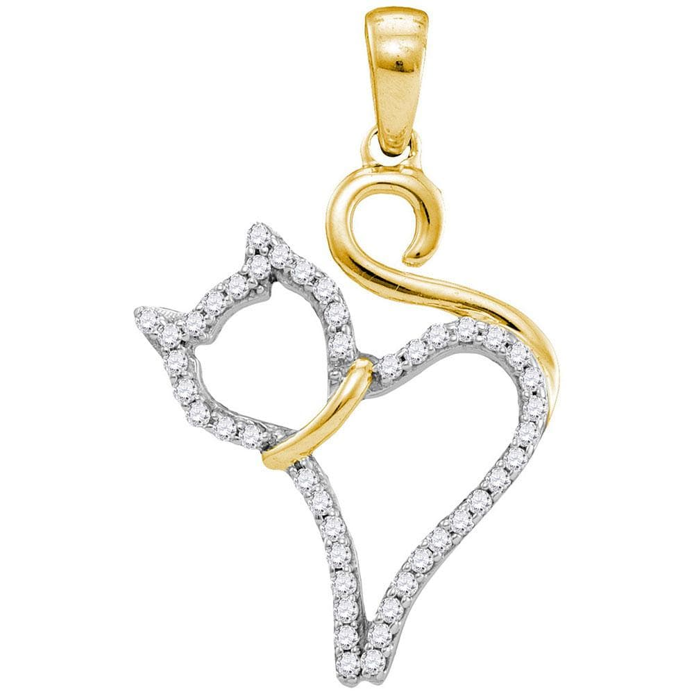 10kt Yellow Gold Womens Round Diamond Kitty Cat Feline Outline Animal Pendant 1/8 Cttw