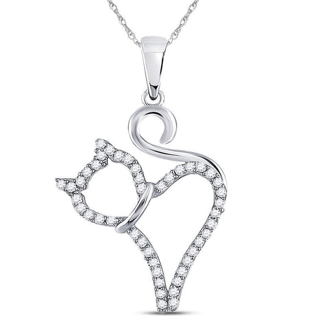 10kt White Gold Womens Round Diamond Kitty Cat Feline Outline Animal Pendant 1/6 Cttw
