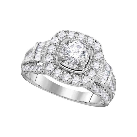 14kt White Gold Womens Round Diamond Solitaire Square Halo Bridal Wedding Engagement Ring 2.00 Cttw